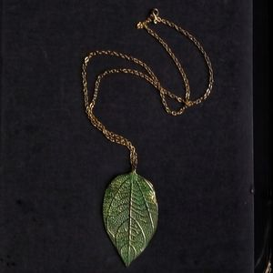 Jewelry - Unique nature scene boho green /gold leaf necklace